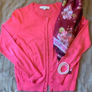 Ann Taylor LOFT Cardigan Pretty Pink Sz. Small EUC